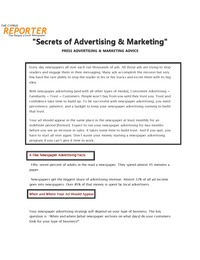 online magazine - Secrets of Advertising & Marketing - Press Advertising