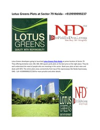 online magazine - Lotus Greens Plots at Sector 79 Noida - +919999999237
