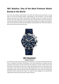 online magazine - IWC Watches -One of the Most Premium Watch Brands in the World