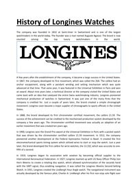 online magazine - History of Longines Watches